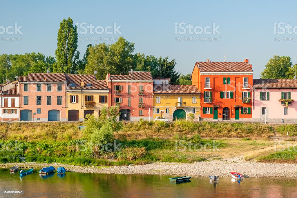 Colored houses along the river Ticino in Pavia stock photo