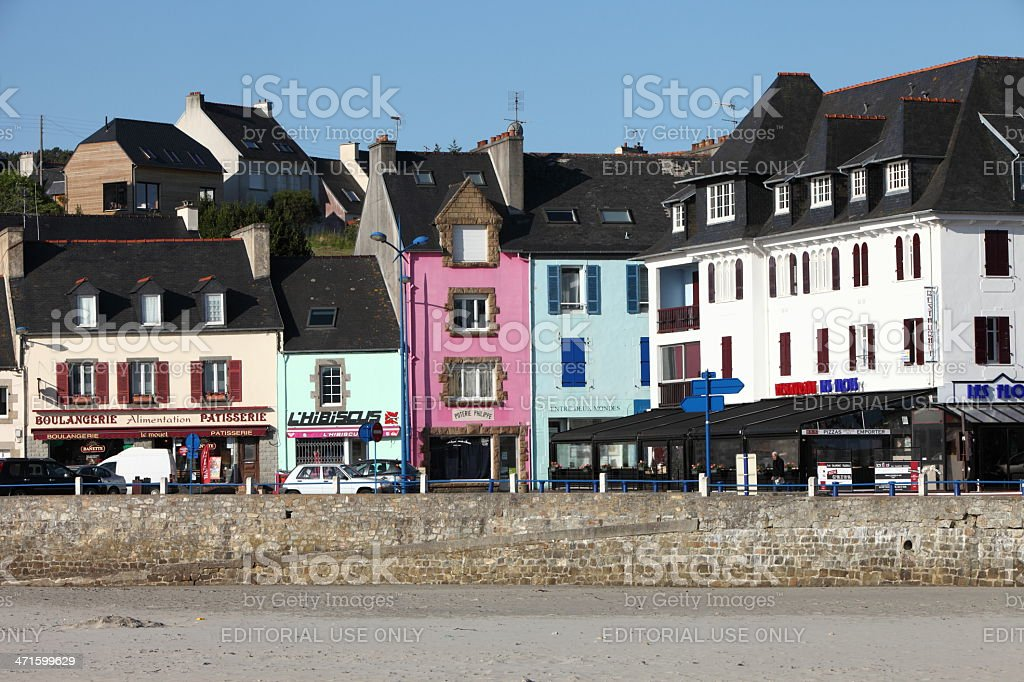 Colored houses in Morgat, Brittany, France stock photo