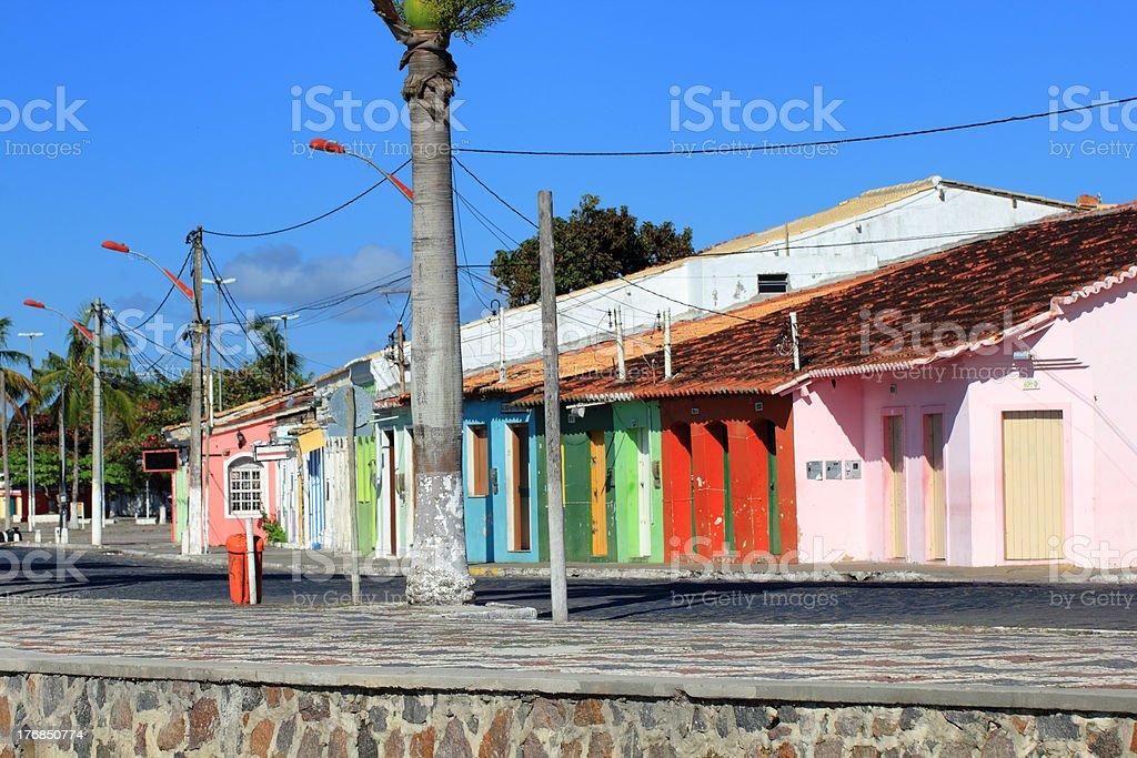 Colored houses in Porto Seguro stock photo
