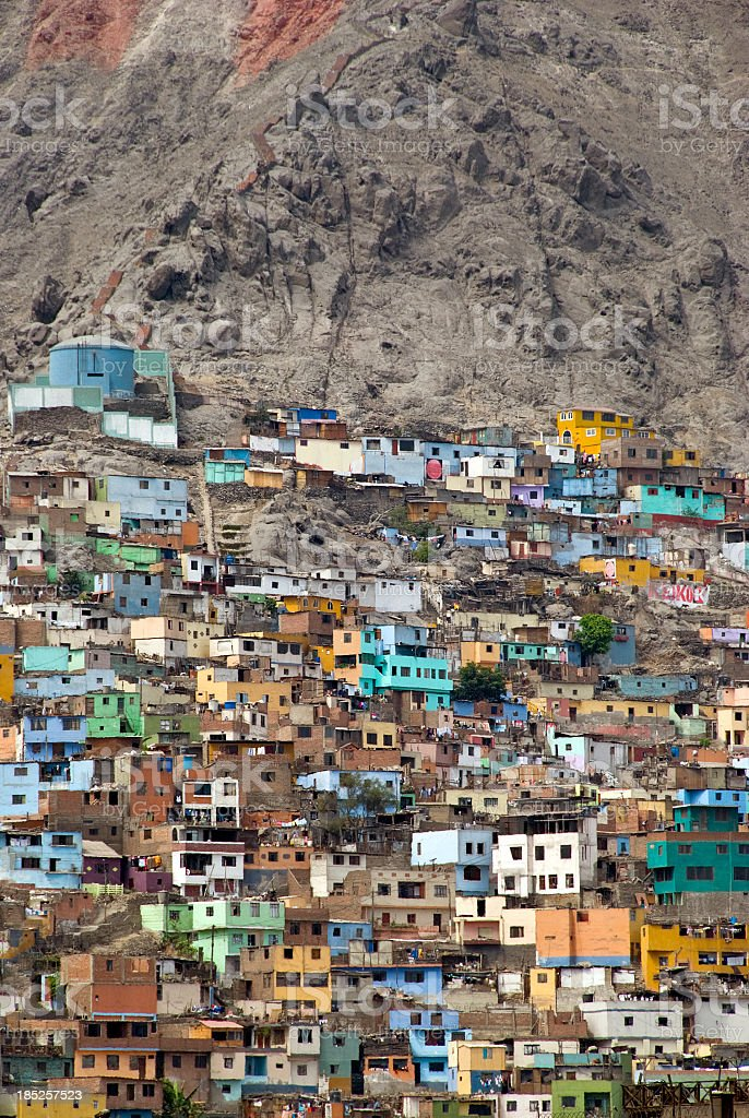 Colored Houses in Slums stock photo