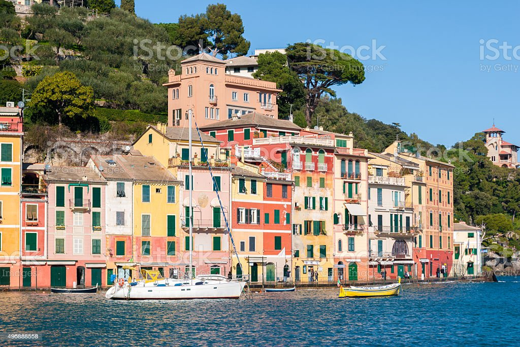 Colored houses in the waterfront of Portofino stock photo