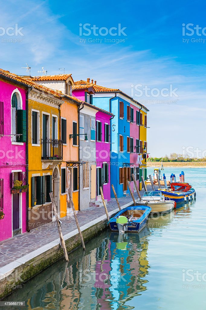 Colored houses near the Venetian Lagoon in Burano, Italy stock photo