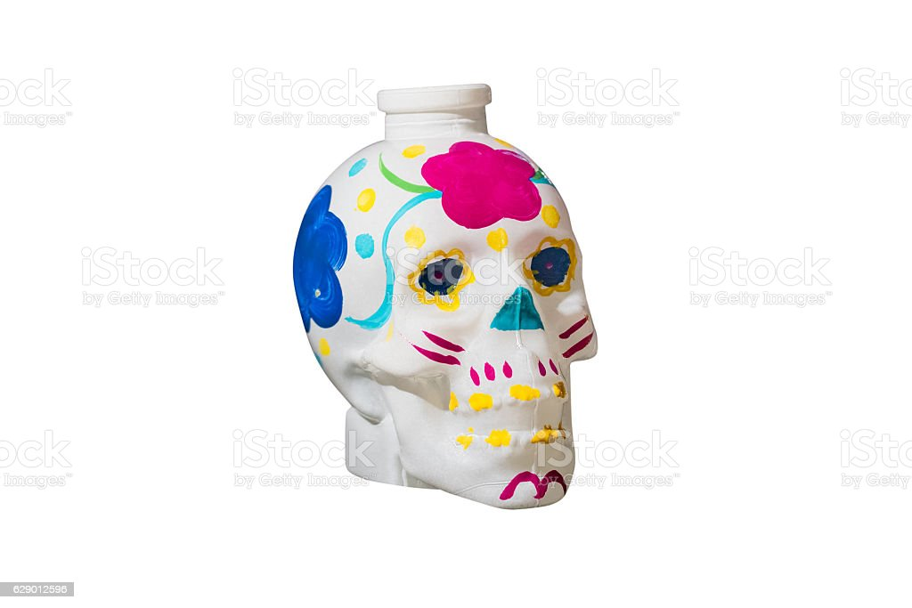 colored human skull isolated on white background stock photo