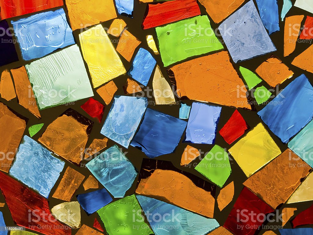 Colored il broken tile and stone mosaic stock photo