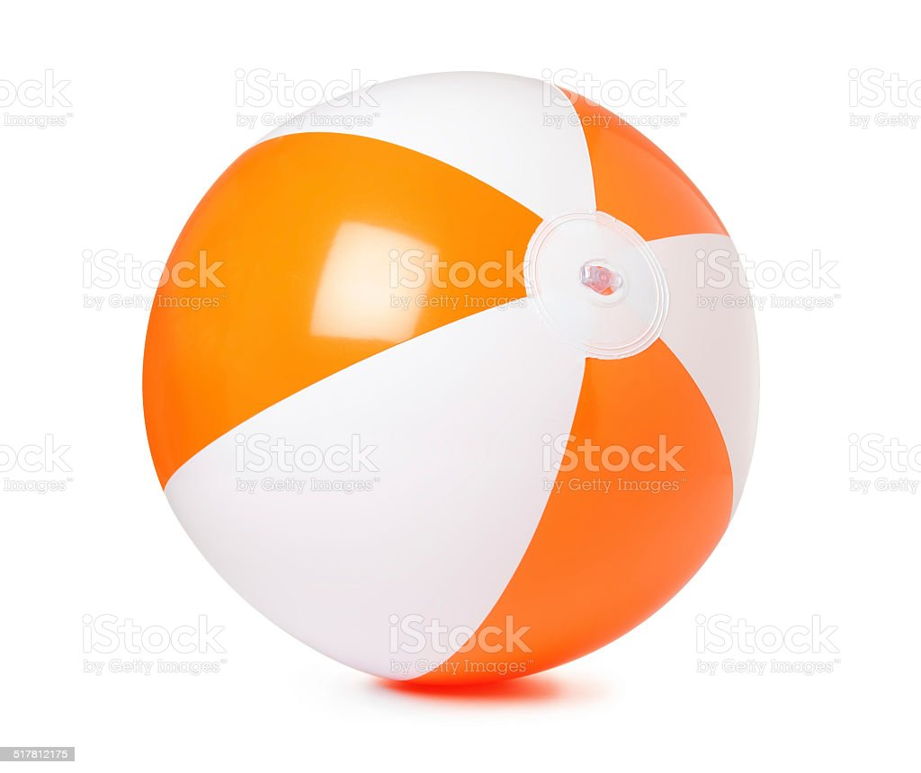 Colored inflatable beach ball on white background stock photo