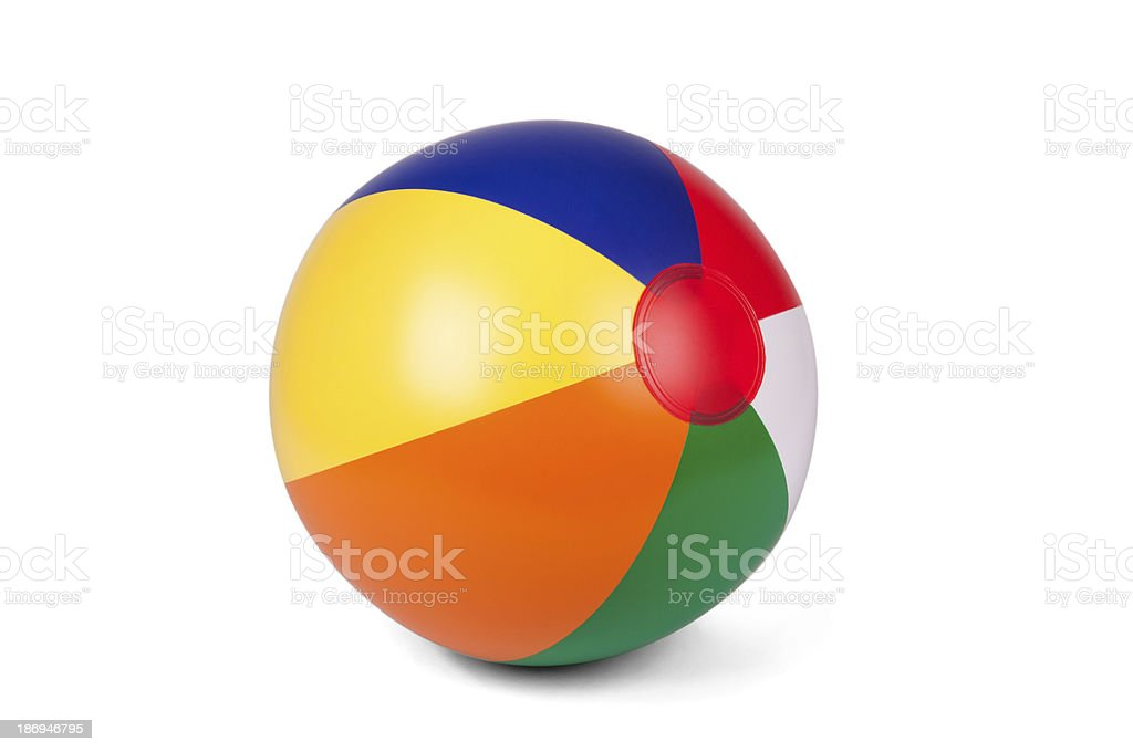 Colored inflatable beach ball stock photo