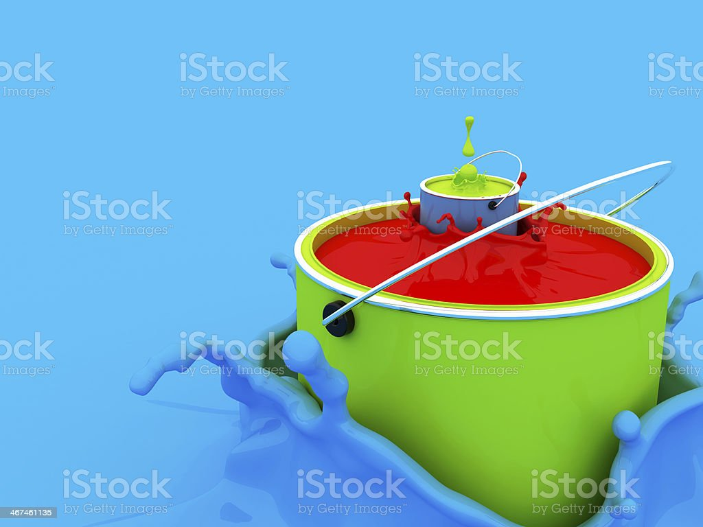 Colored inks (3D)-splash-concept stock photo