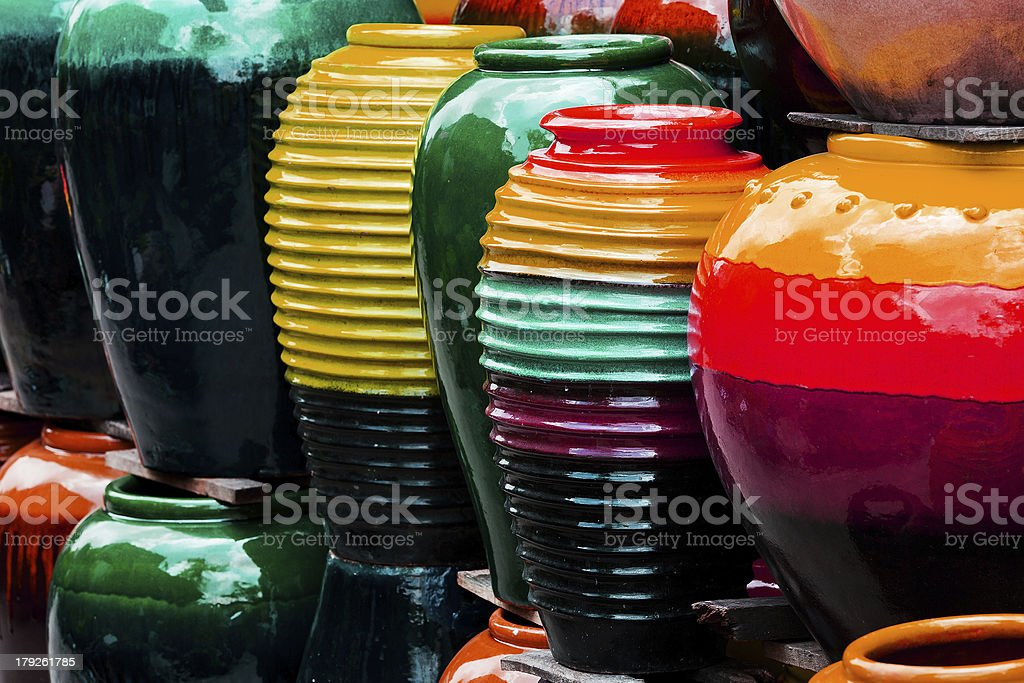 Colored jars. royalty-free stock photo