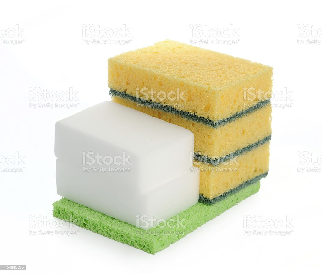 Colored kitchen sponges isolated on white background. stock photo