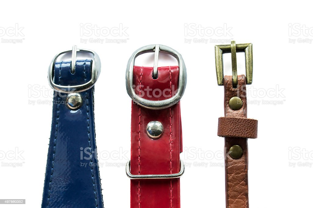 Colored leather belts stock photo