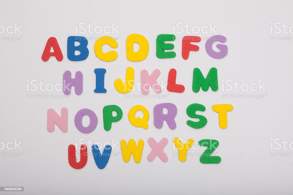 colored letter alphabet stock photo