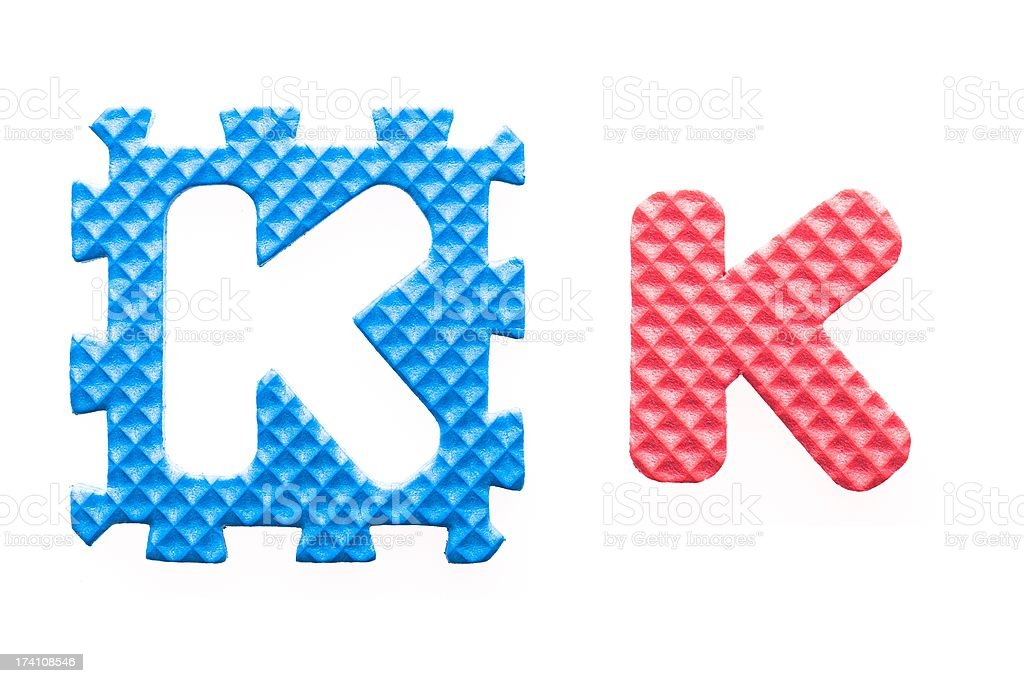 Colored letters K alphabet for children royalty-free stock photo