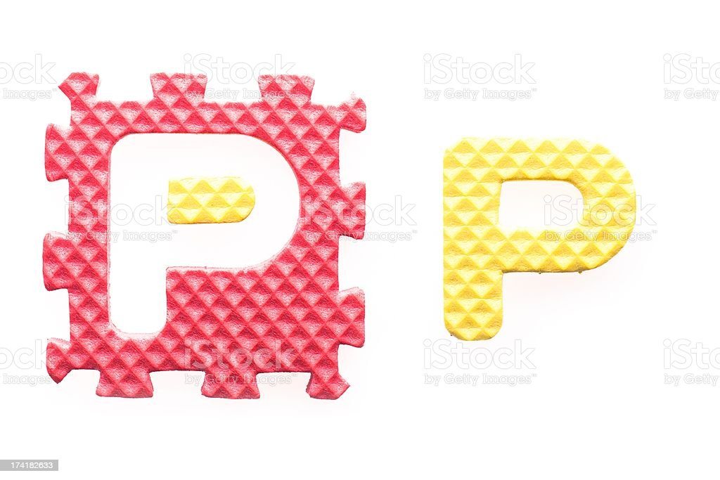 Colored letters P alphabet for children royalty-free stock photo