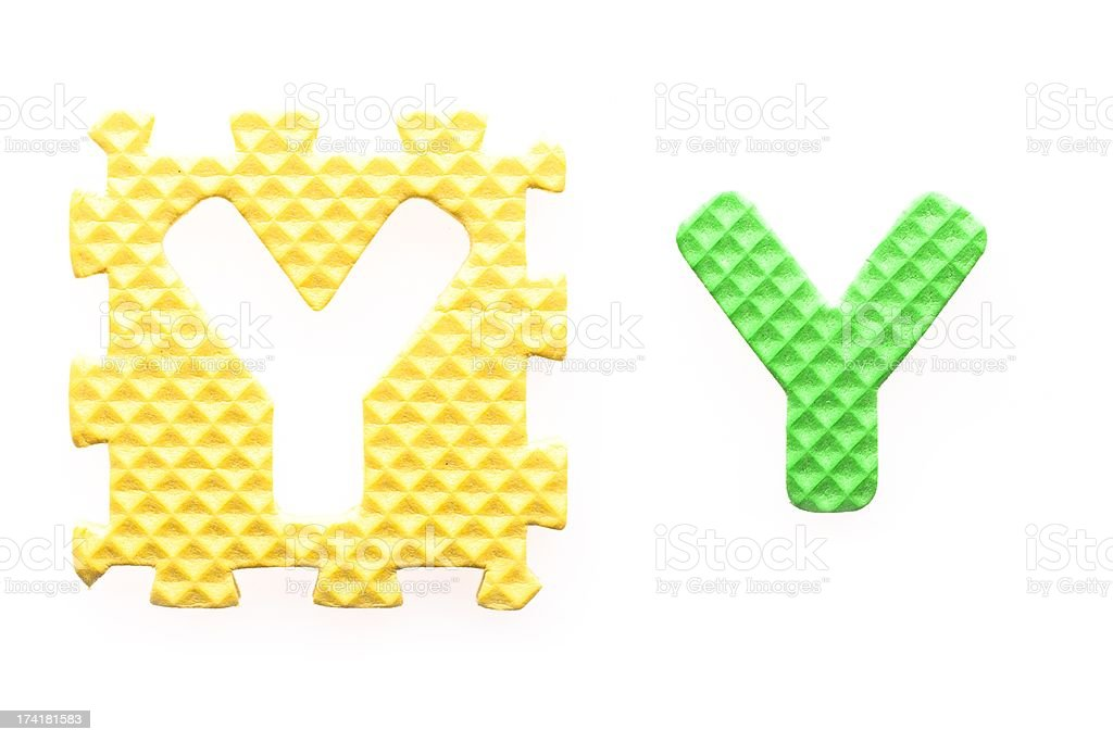 Colored letters Y alphabet for children royalty-free stock photo