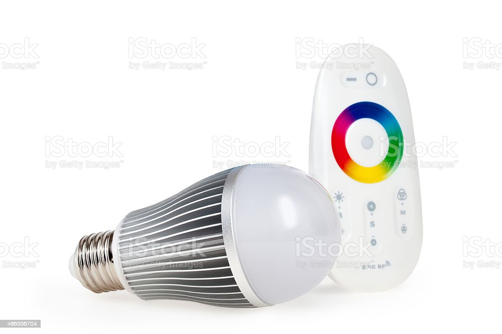 LED colored light with remote control stock photo