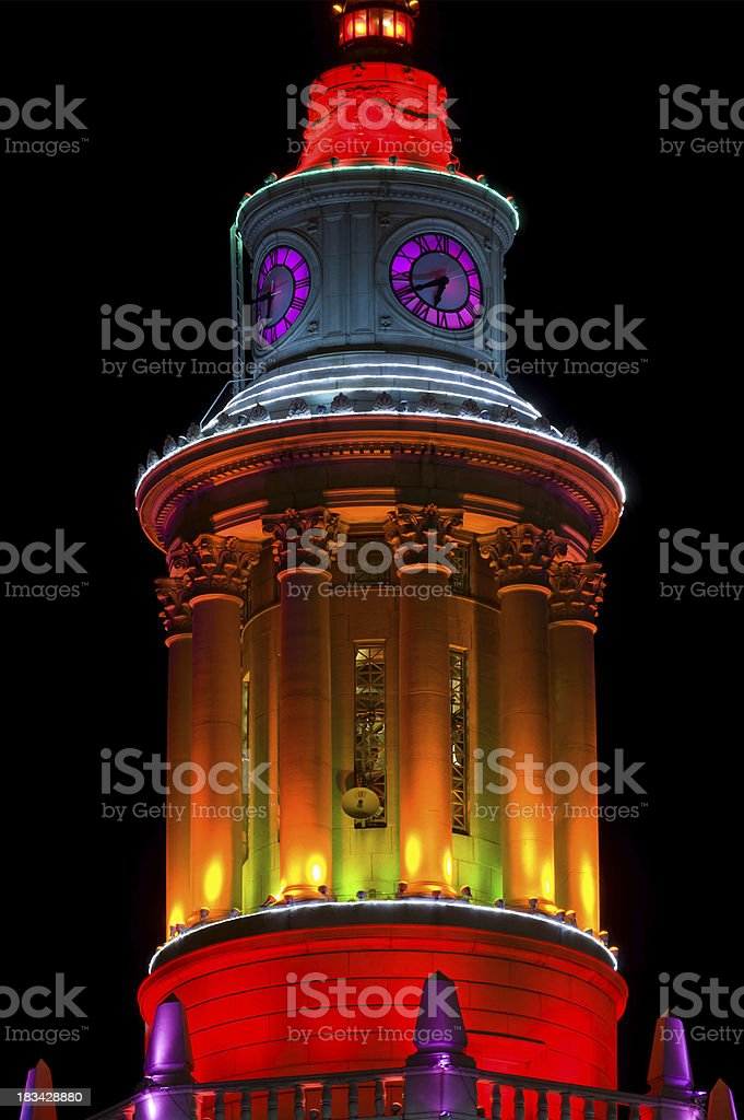 Colored Lights on Building Architectural Detail stock photo
