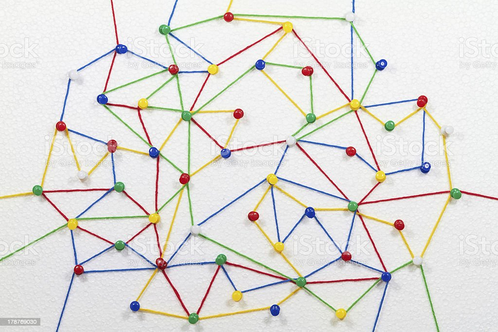 Colored lines to indicate a network stock photo