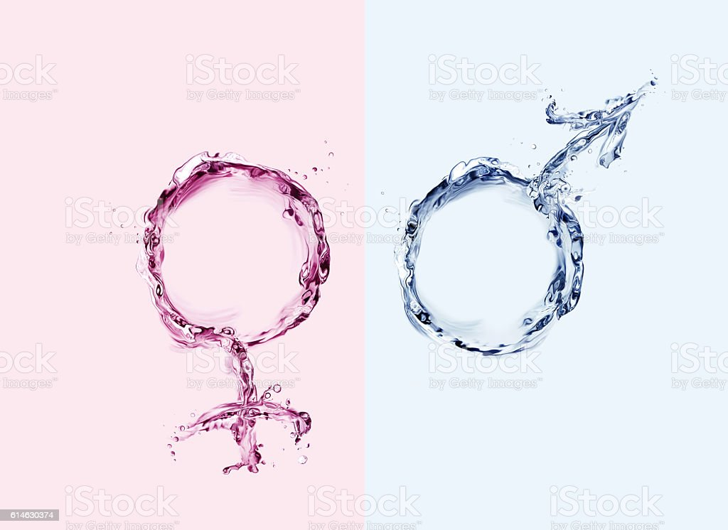 Colored Male and Female Water Symbols royalty-free stock photo