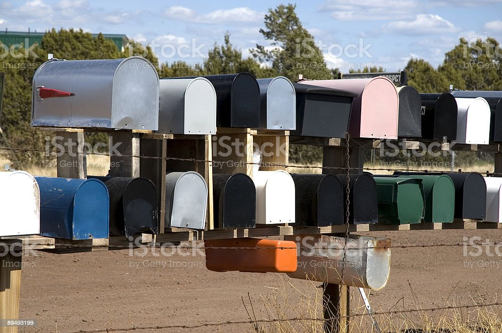 Colored metal mail boxes royalty-free stock photo