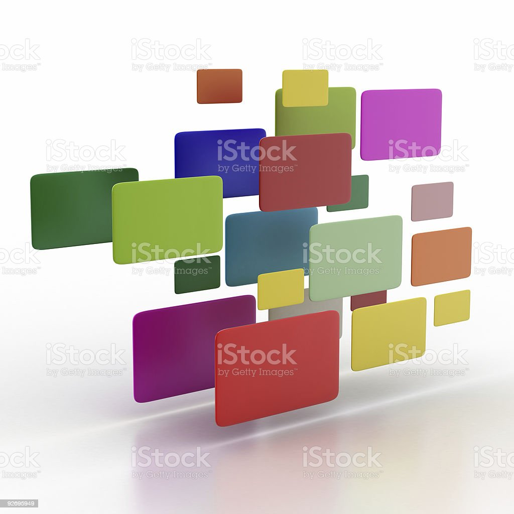 Colored Monitors in the Air (isolated on white) royalty-free stock photo
