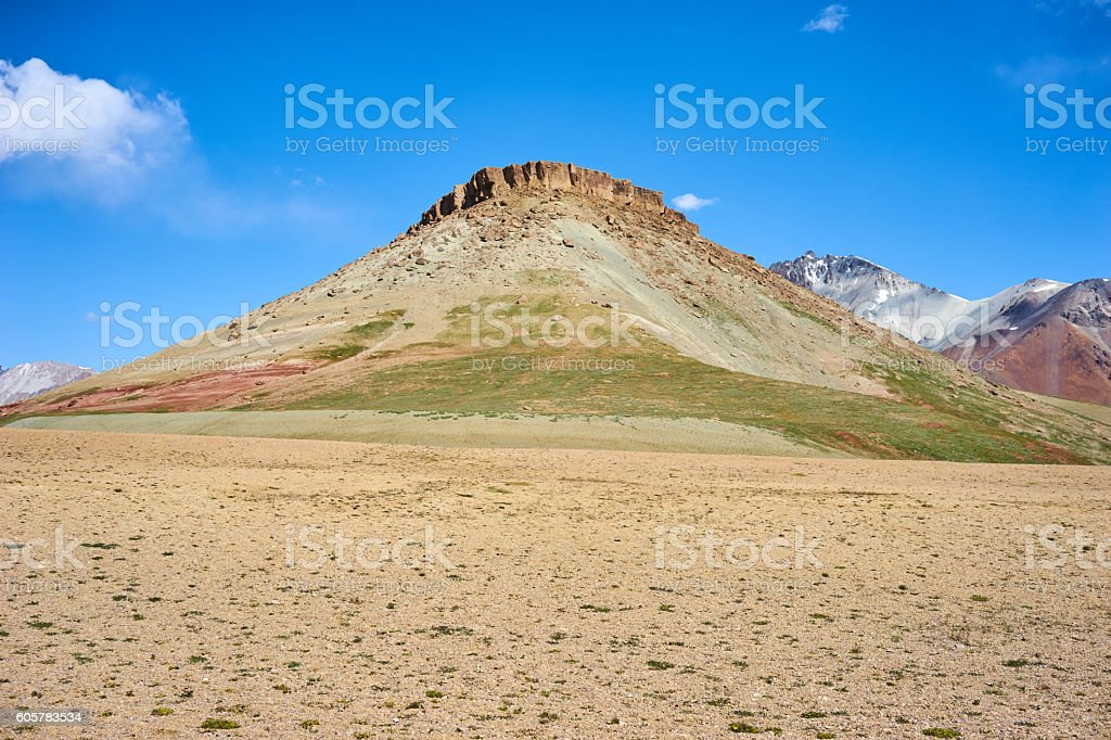 Colored mountains in Kichik-Alai valley stock photo