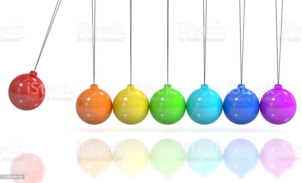 Colored Newton's cradle, pendulum. 3D rendering stock photo