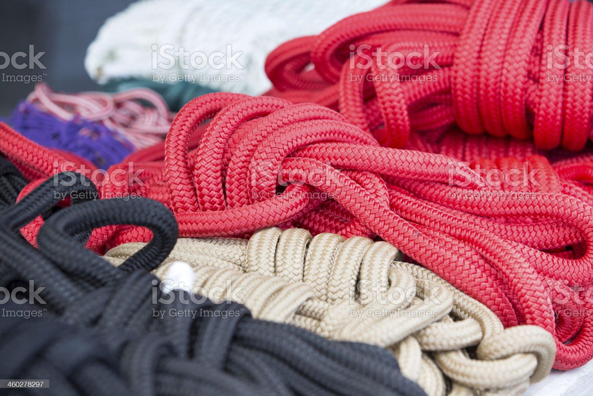 Colored nylon boat rope royalty-free stock photo