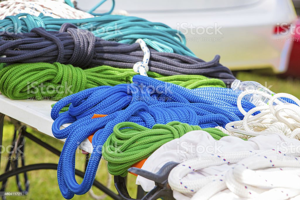 Colored nylon nautical rope royalty-free stock photo