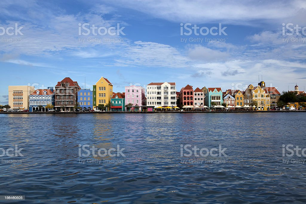 Colored old houses of Punda, Willemstad, Curacao stock photo
