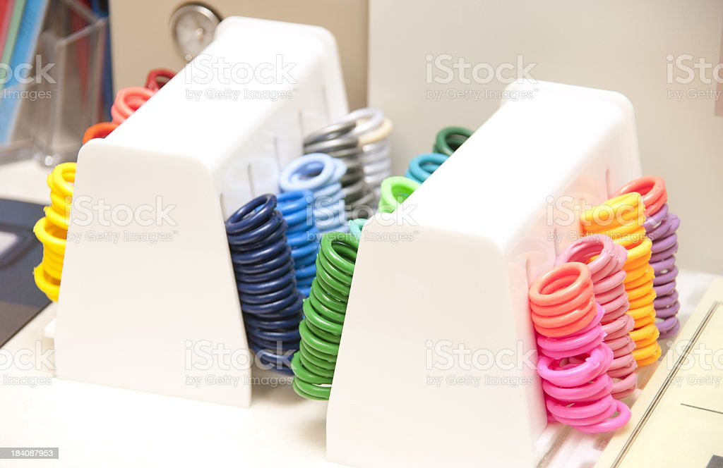 colored orthodontist equipment stock photo