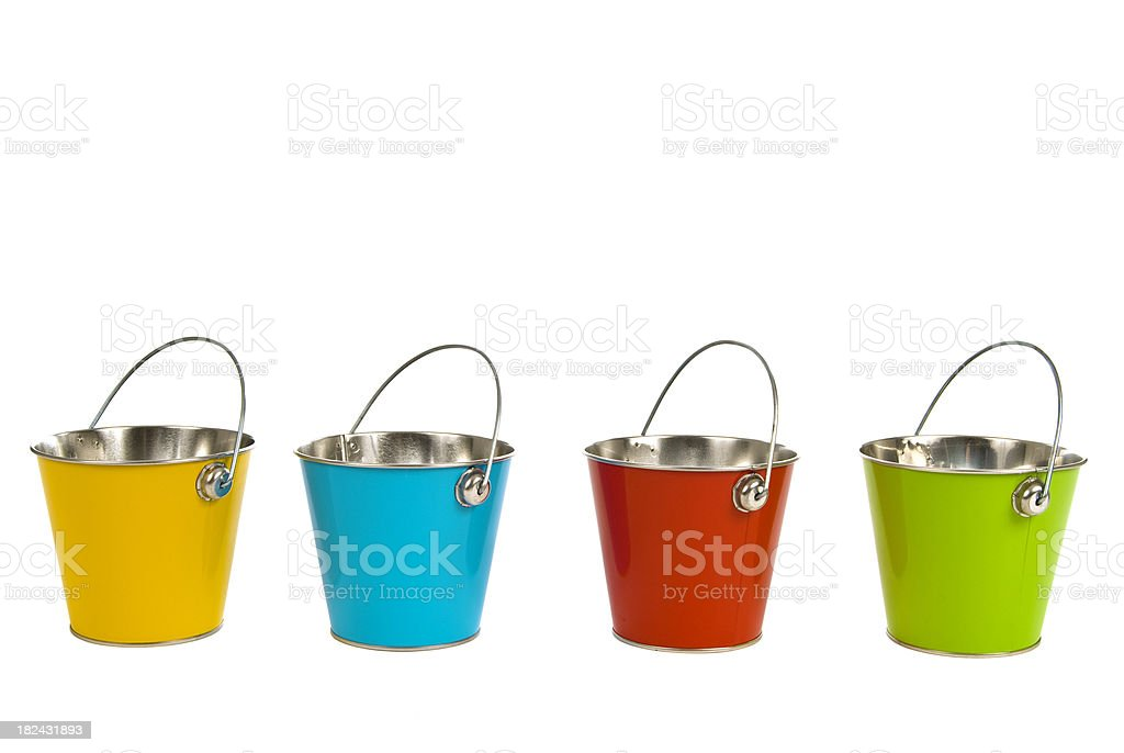 Colored Pails With Handles Up royalty-free stock photo