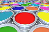 Colored Paint Buckets