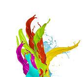Colored paint splash, isolated on white background
