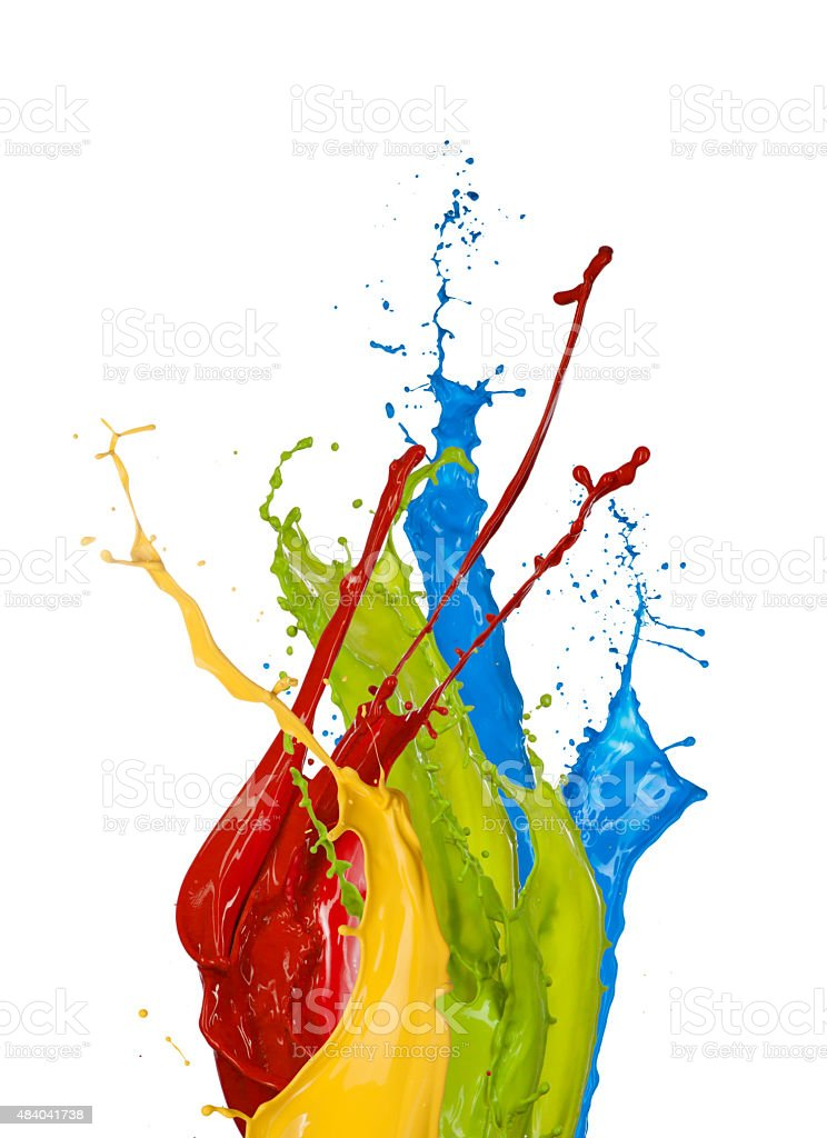 Colored paint splashes on white background stock photo
