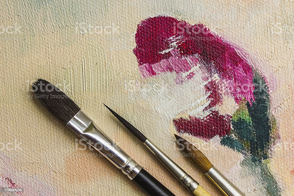 colored paints and brushes for painting royalty-free stock photo