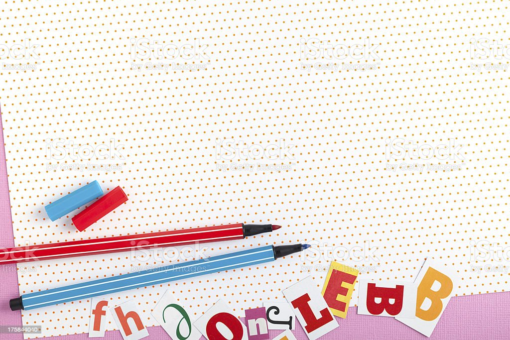 colored paper and pens for writing royalty-free stock photo