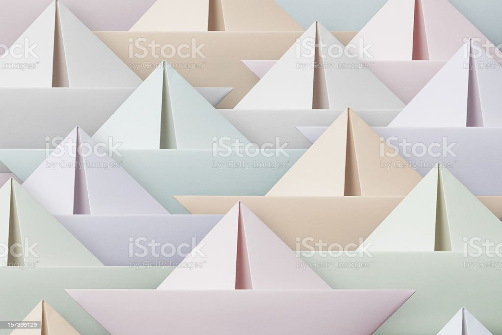 Colored paper boats royalty-free stock photo