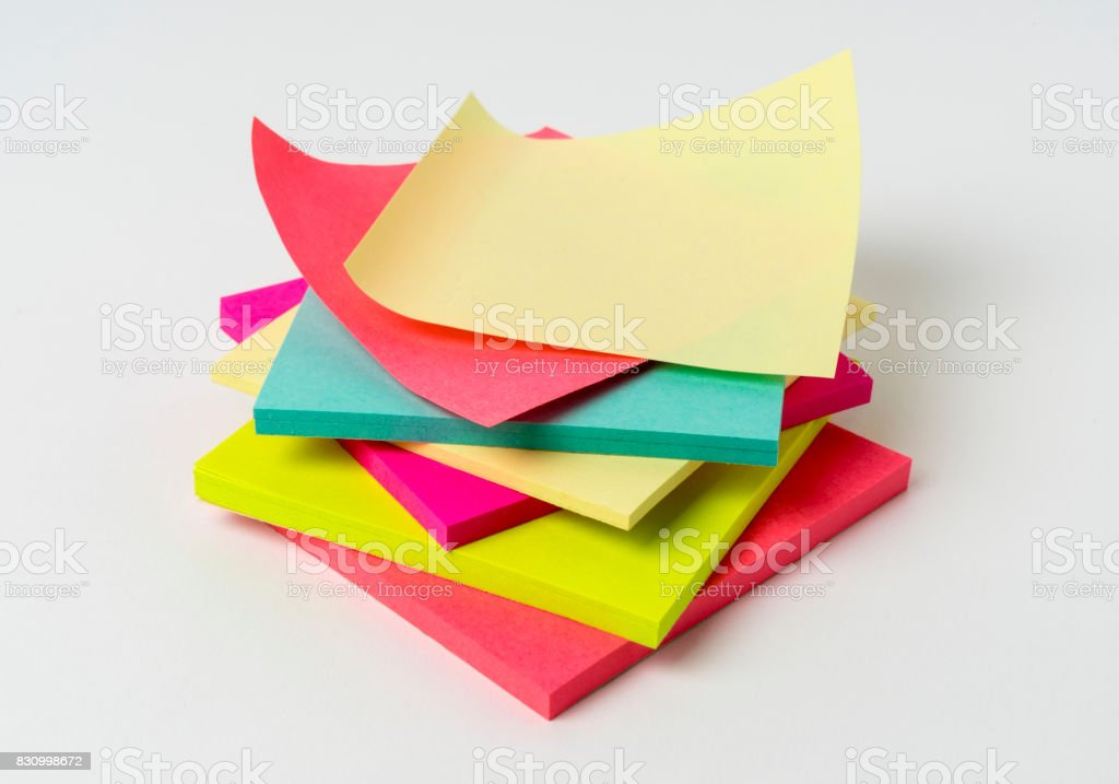 colored paper stickers isolated on a white background stock photo