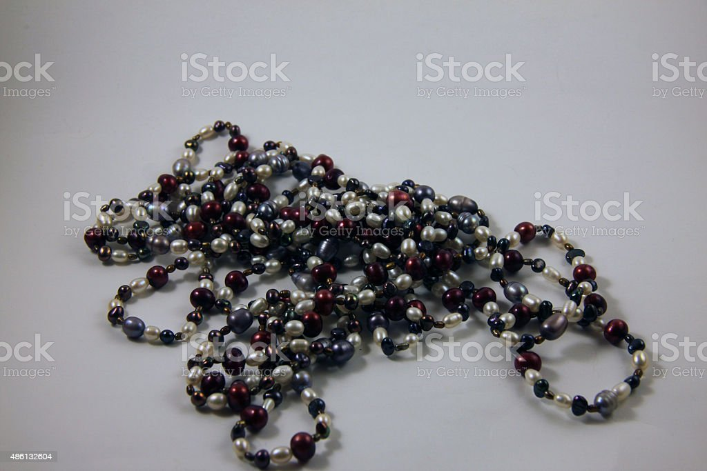 Colored pearls stock photo