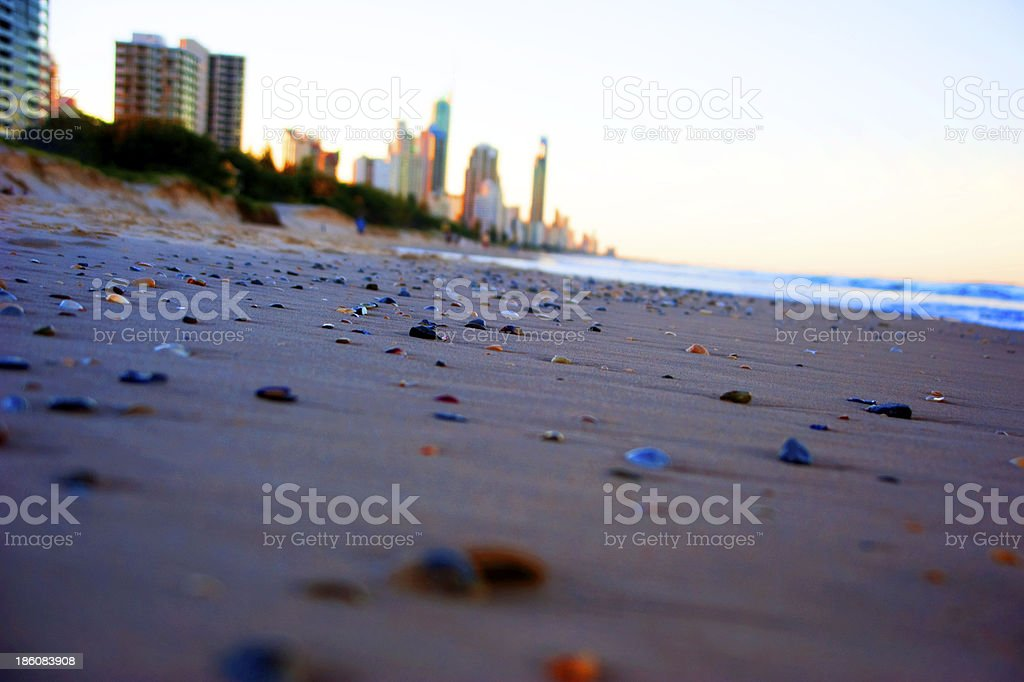 Colored pebbles on the beach stock photo