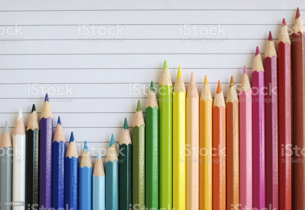 Colored Pencil Bar Graph Lined Paper Gives Successful Result stock photo