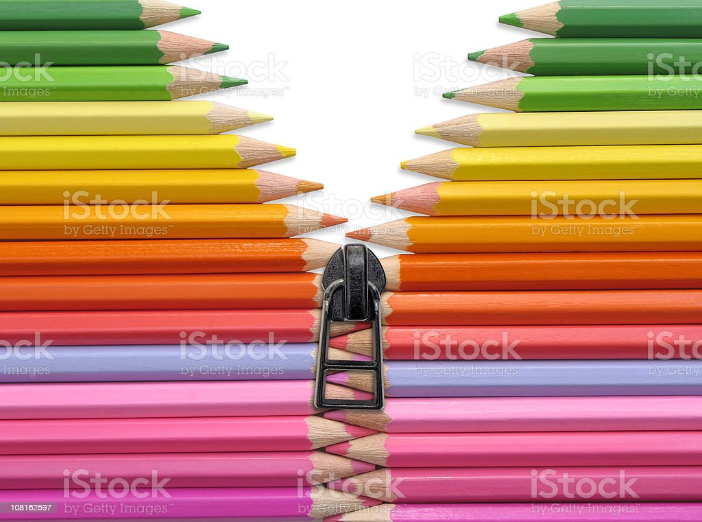 Colored Pencil Crayons with Zipper royalty-free stock photo