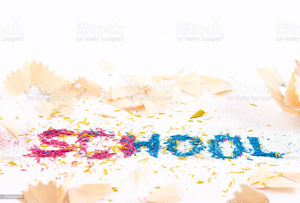 Colored pencil shavings royalty-free stock photo