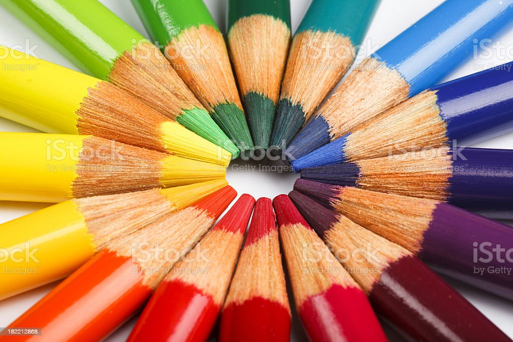 Colored pencil wheel royalty-free stock photo