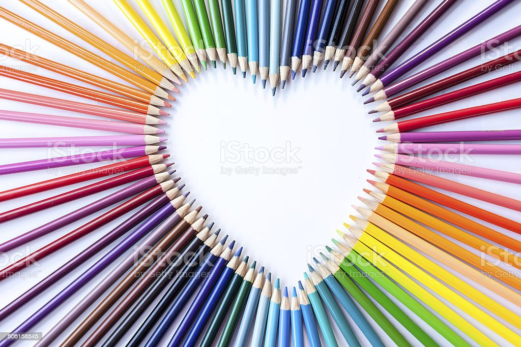 Colored Pencils and Crayons stock photo