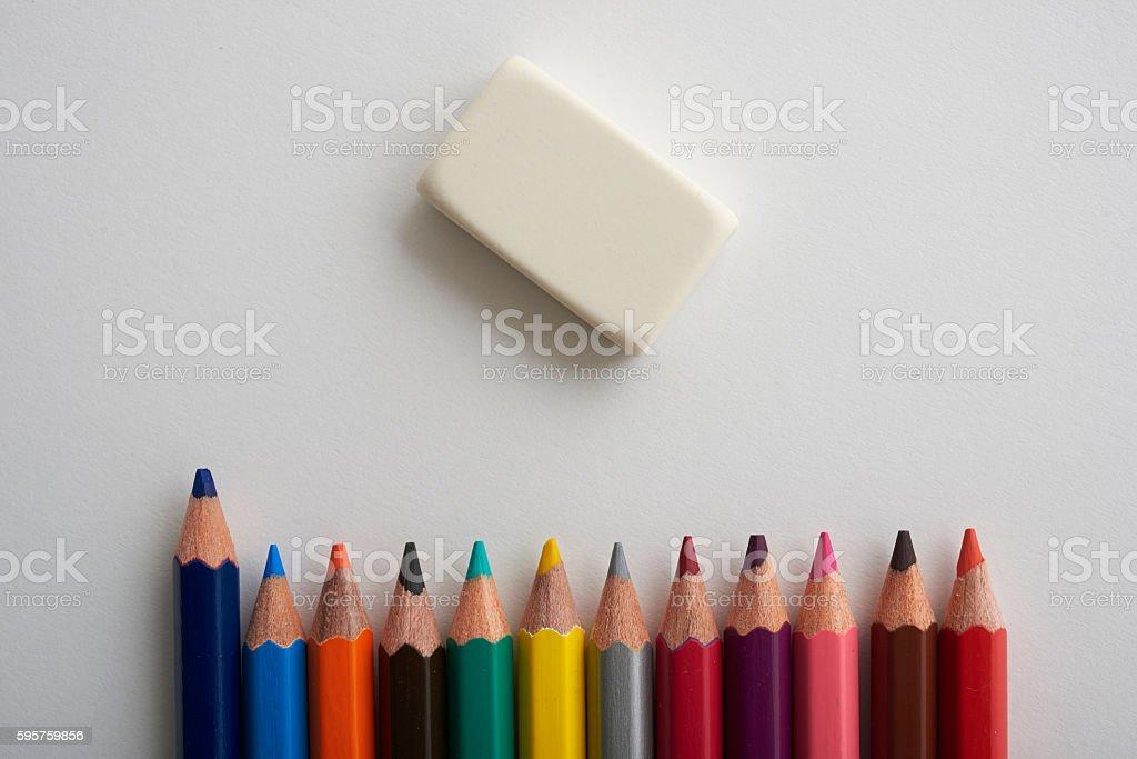 colored pencils and Elastics stock photo