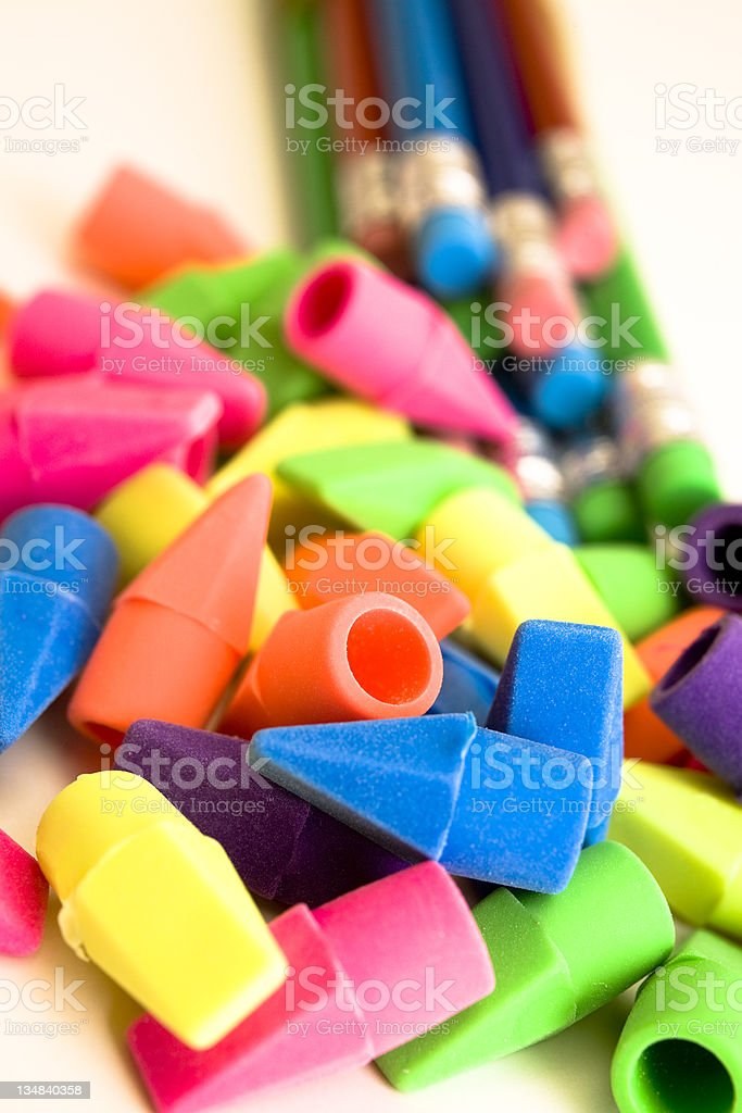 Colored pencils and erasers royalty-free stock photo