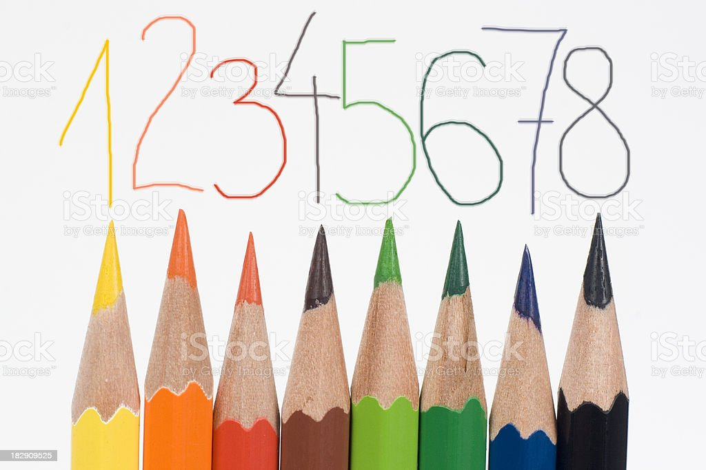 colored pencils and numbers royalty-free stock photo