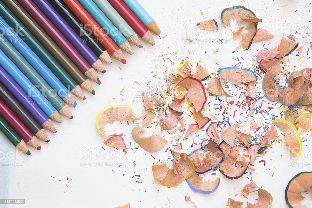 Colored Pencils and Shavings royalty-free stock photo