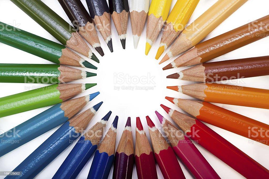 Colored Pencils Circle royalty-free stock photo